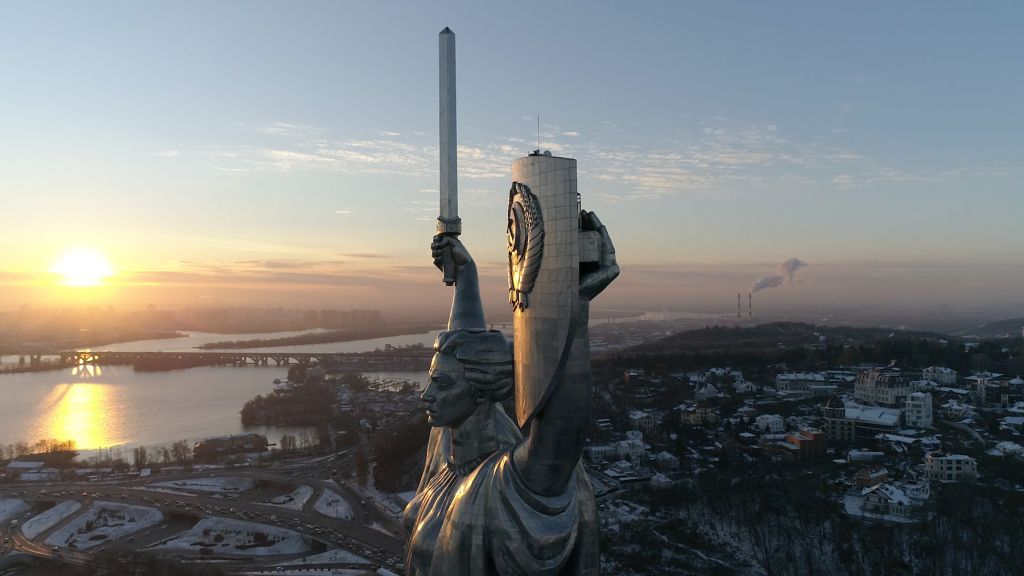 "The Motherland Monument in Kyiv, Ukraine, still from ""Antagonisms of Memory in Post-Maidan Kyiv"""